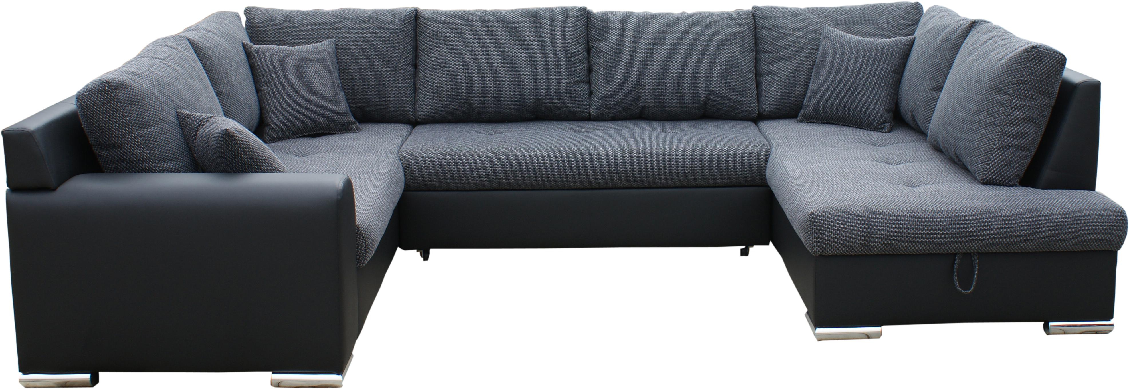 Rohová sedací souprava U - BRW - Olimp U (šedá + černá) (L)