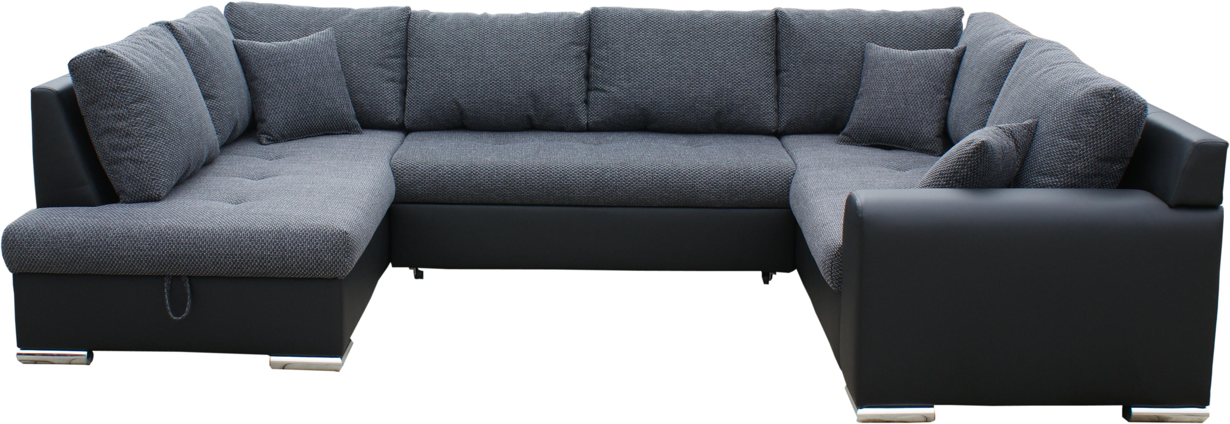 Rohová sedací souprava U - BRW - Olimp U (šedá + černá) (P)