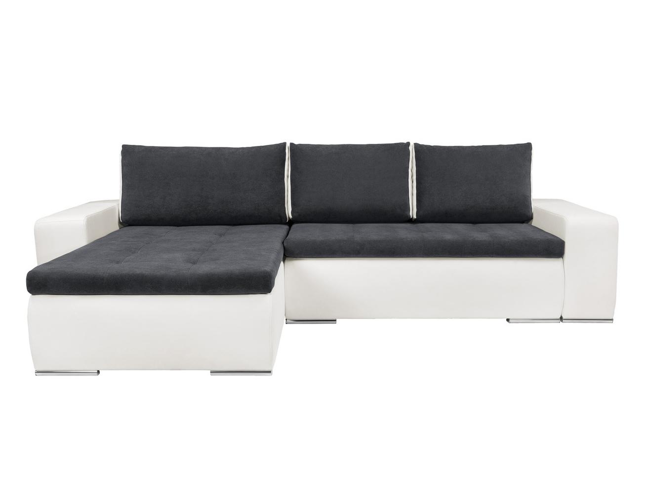 Rohová sedací souprava - BRW - Marina II Lux 3DL.URC bílá/modrošedá (L)