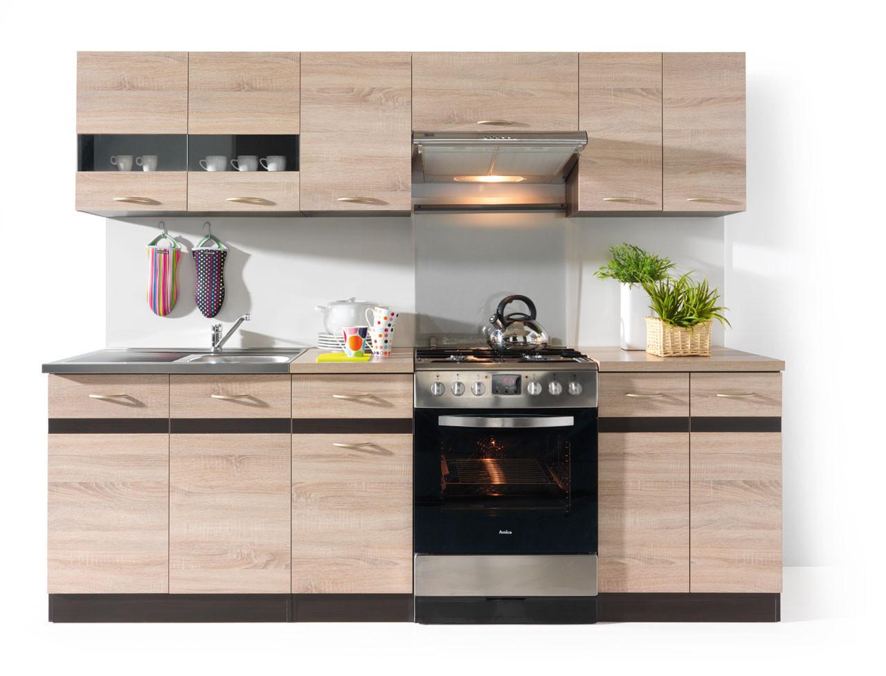 Kuchyně - BRW - Junona line 240 cm - Wenge a Dub Sonoma - světlá