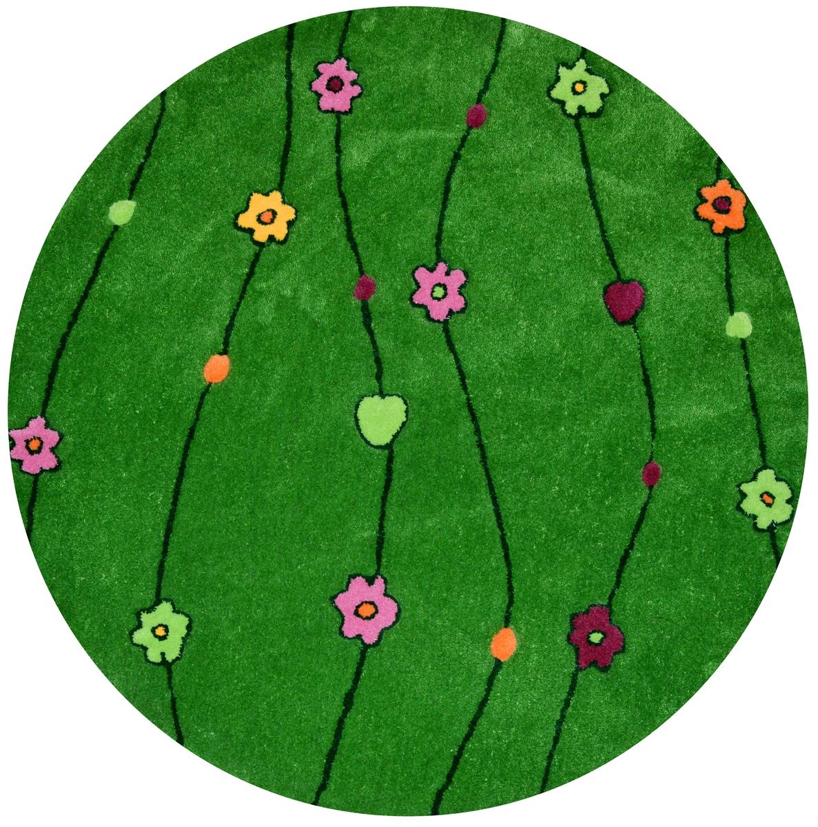 Ručně všívaný koberec (tuftovaný) - Bakero - Kids Flowers Green Round
