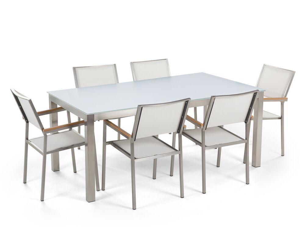 Zahradní jídelní sada - Grosso (bílá) (bílé židle)