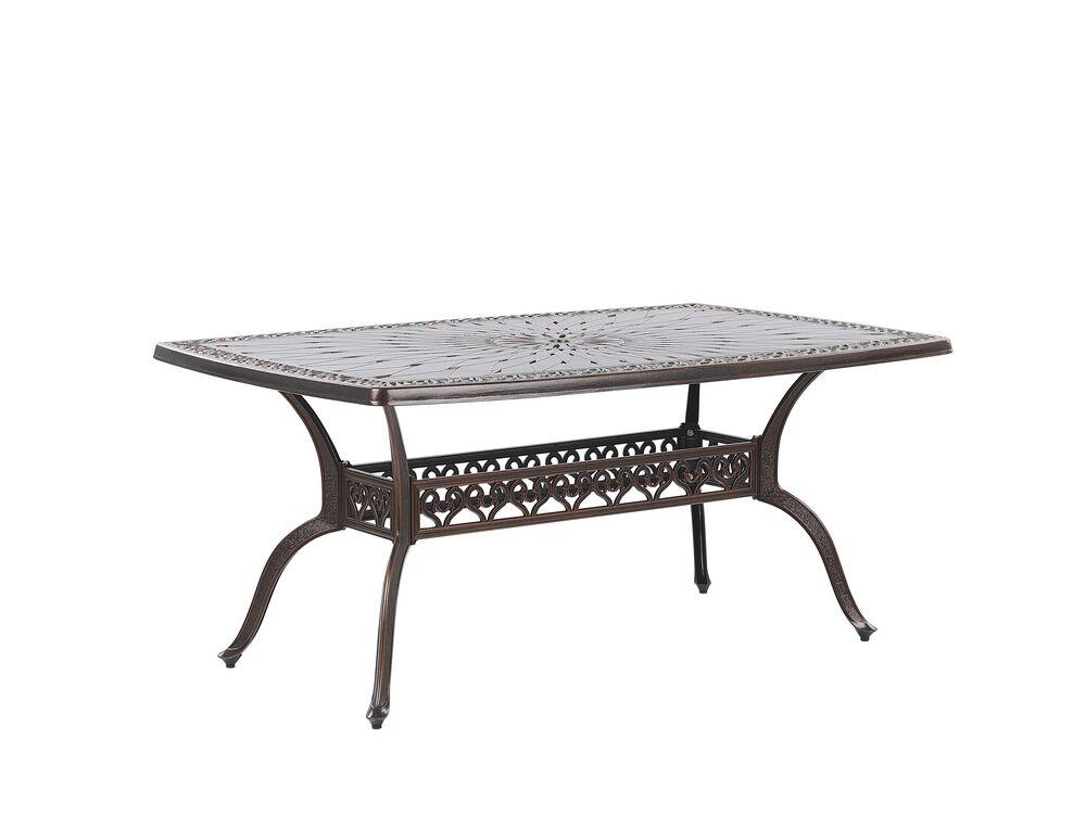 Zahradní stůl 165 cm - LIZZI (hliník) (hnědá) (pro 6 osob)