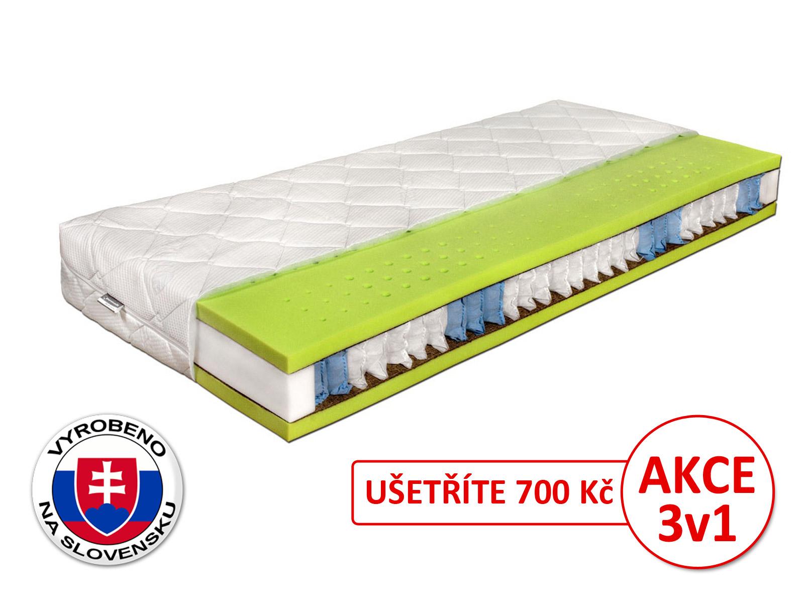 Taštičková matrace - Benab - Seven Zone Ergonomic - 200x90 cm (T3/T4). Ortopedická matrace pro náročné, vyrobená na Slovensku, s přizpůsobivým 7-zónovým jádrem, s příměsí kokosového vlákna a s antibakteriálním potahem.