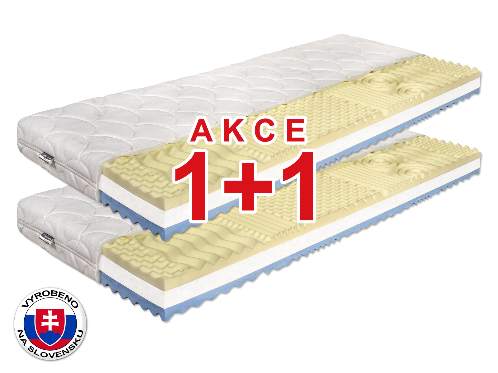 Pěnová matrace - Benab - Visco Plus - 200x80 cm (T3/T4) *AKCE 1+1. Antibakteriální, oboustranná slovenská matrace pro náročné v akci (1 + 1), se 7-zónovou profilací elastické paměťové pěny, s certifikátem OEKO-TEX.