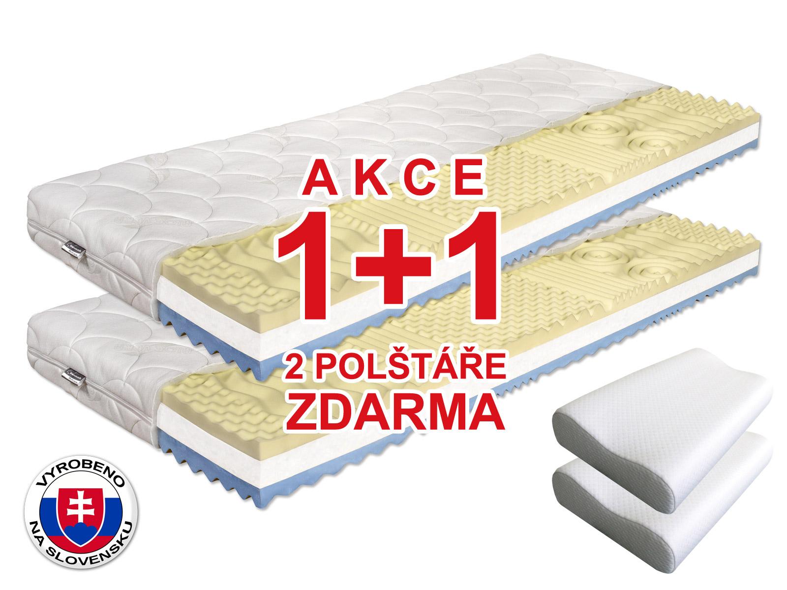 Pěnová matrace - Benab - Visco Plus - 200x80 cm (T3/T4) *AKCE 1+1 + dva polštáře zdarma. Antibakteriální, oboustranná slovenská matrace pro náročné v akci (1 + 1), se 7-zónovou profilací elastické paměťové pěny, s certifikátem OEKO-TEX.