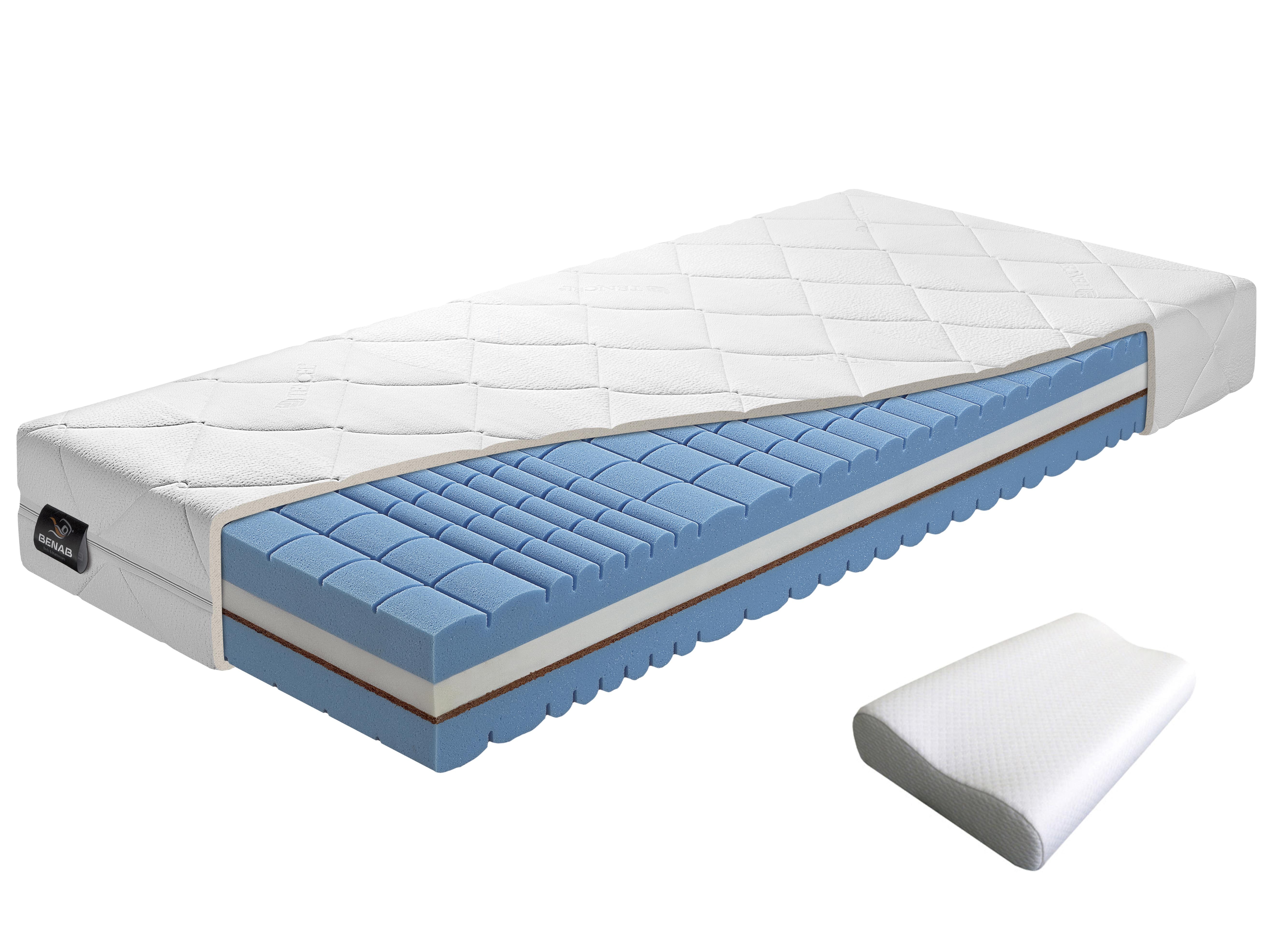 Pěnová matrace - Benab - Delta Flex - 200x80 cm (T4/T5) + polštář a chránič matrace. Prodyšná, anatomická, oboustranná matrace z vysoce pružné HR studené pěny, s přírodní kokosovou deskou, pro nejnáročnější. Vyrobená na Slovensku.