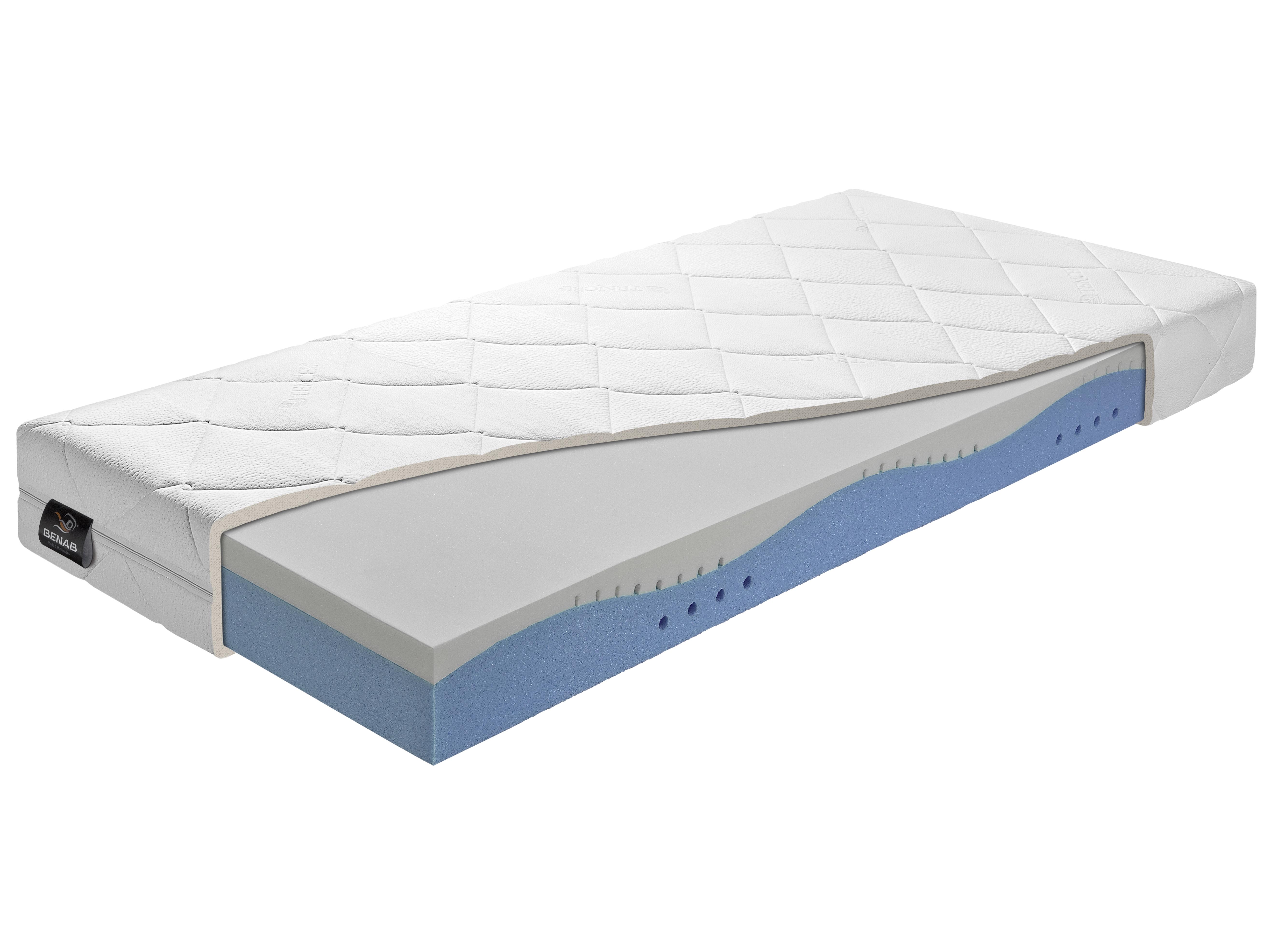 Pěnová matrace - Benab - Gold Memory Soja - 200x90 cm (T2/T3). Vzdušná, zdravotní sendvičová matrace s obsahem vysoce elastické paměťové pěny (líné pěny), pro maximálně ortopedické účinky a pohodlí, vyrobená na Slovensku.