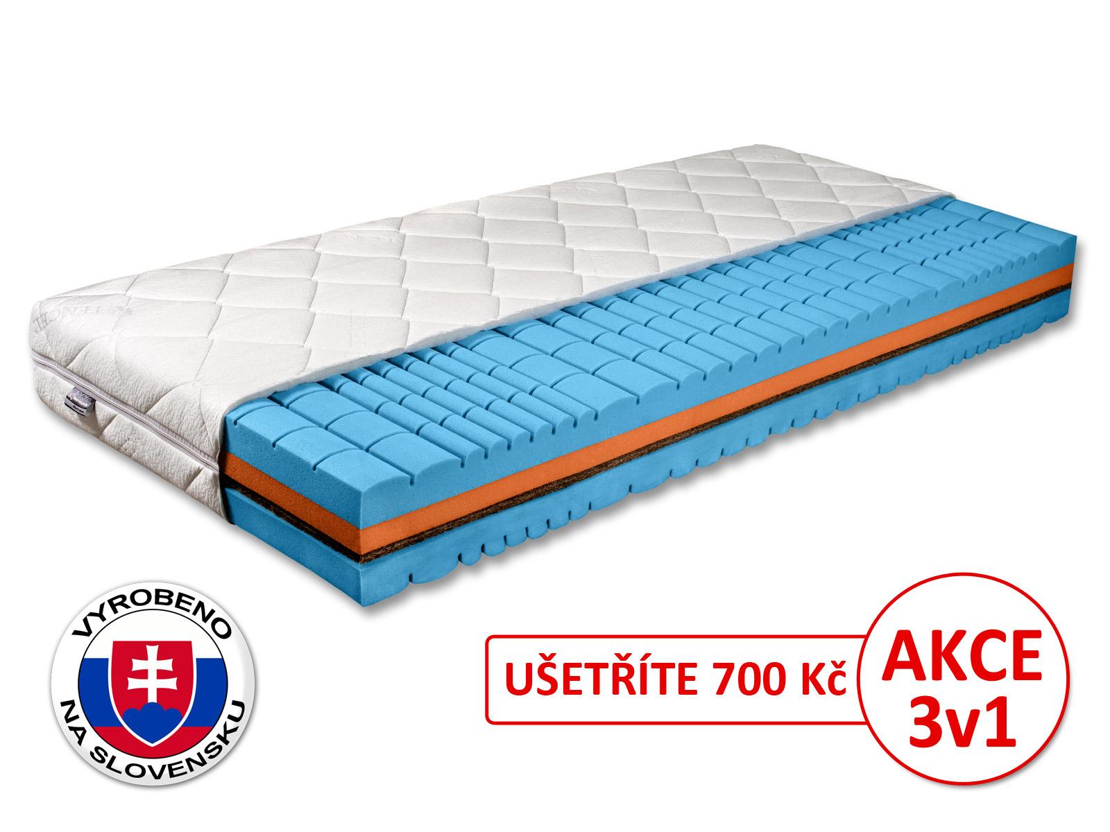 Pěnová matrace - Benab - Delta Flex - 200x80 cm (T4/T5). Prodyšná, anatomická, oboustranná matrace z vysoce pružné HR studené pěny, s přírodní kokosovou deskou, pro nejnáročnější. Vyrobená na Slovensku.