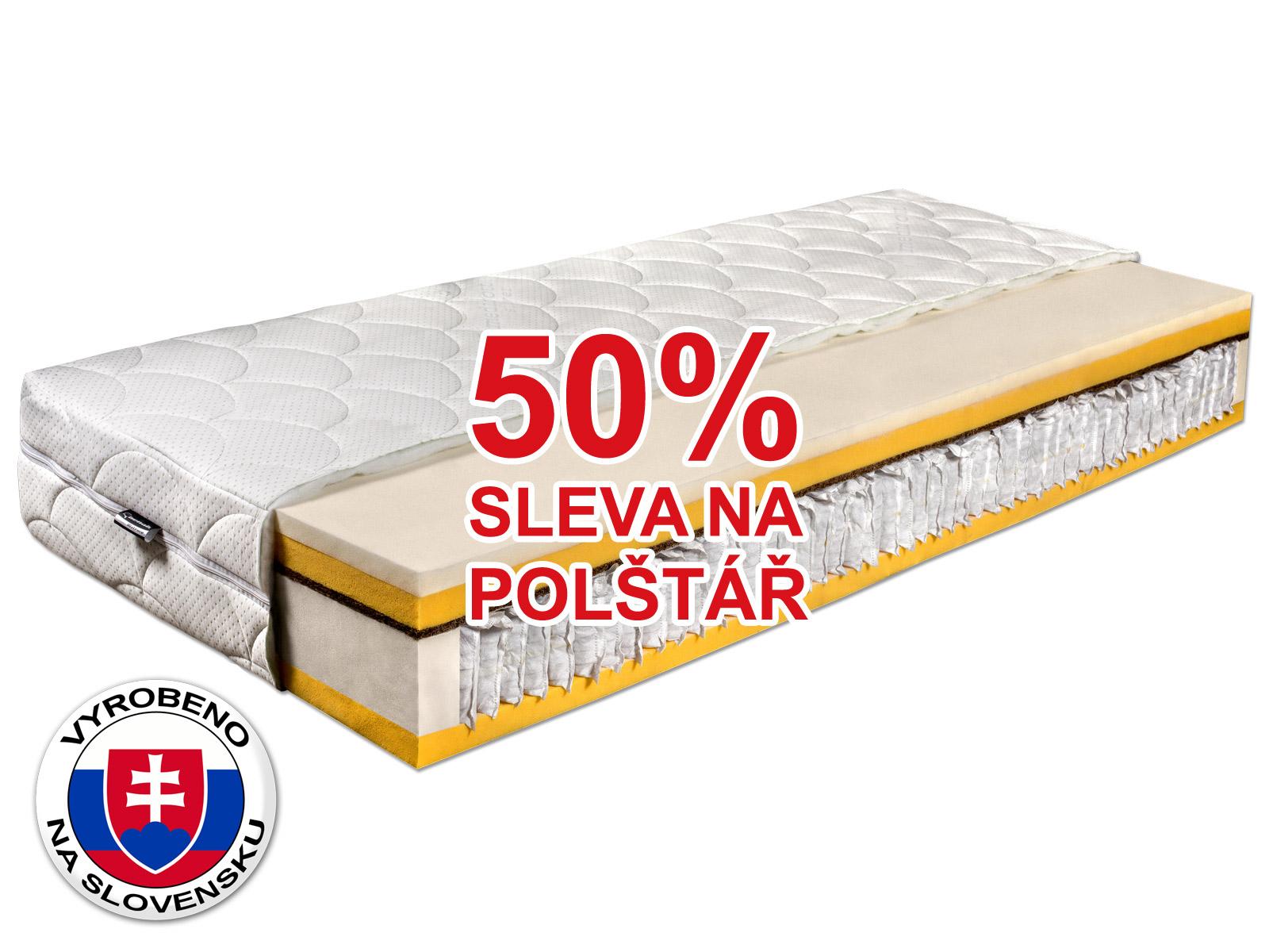 Taštičková matrace - Benab - Benab Five Star - 200x80 cm (T3/T4). Ortopedická matrace pro náročné, vyrobená na Slovensku, s přizpůsobivým 7-zónovým jádrem, s příměsí kokosového vlákna a s antibakteriálním potahem.