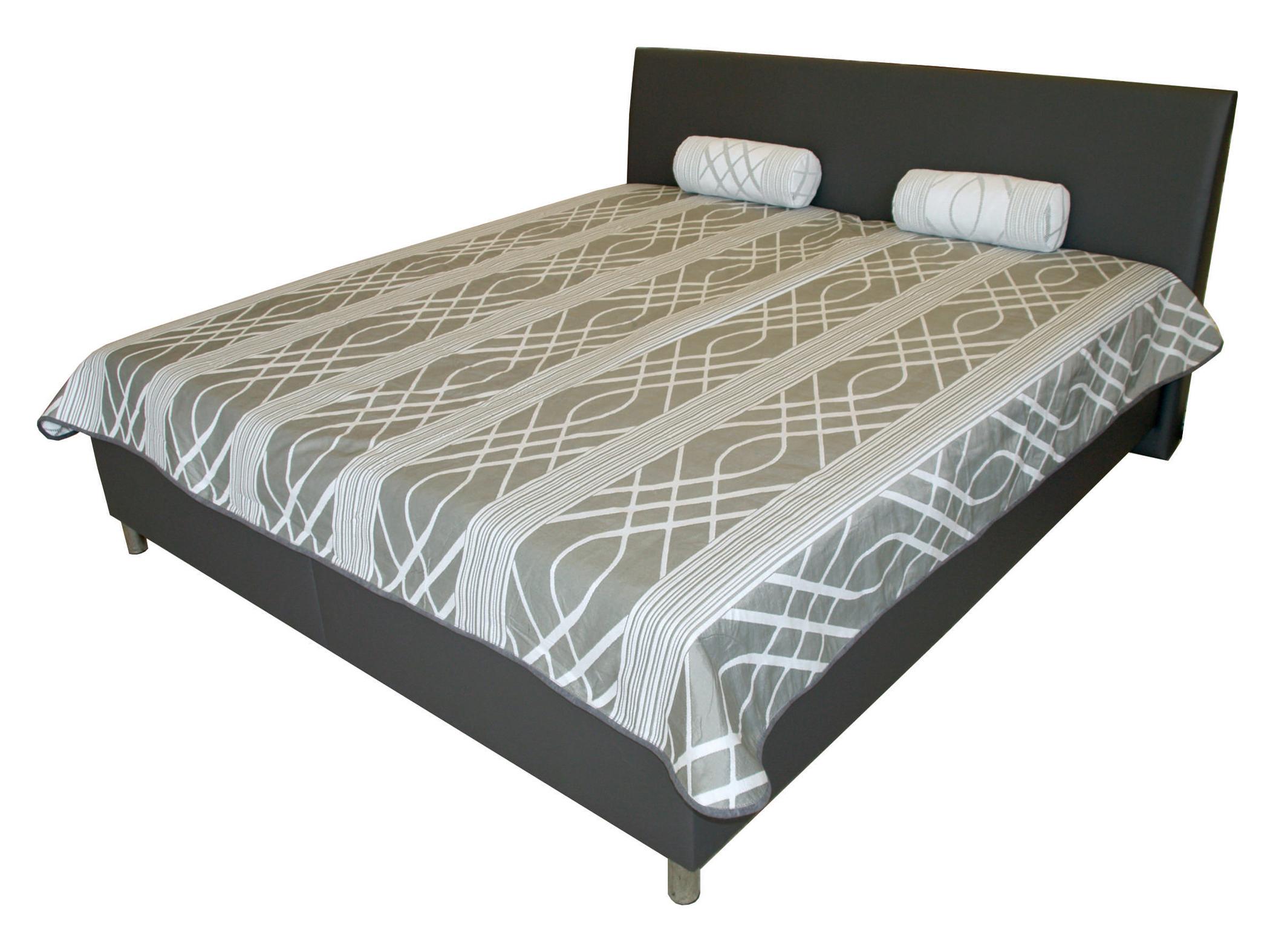 Manželská postel 180 cm - Benab - Mona Lucia šedá/Eko šedá (s rošty a matracemi DUO FLEX)