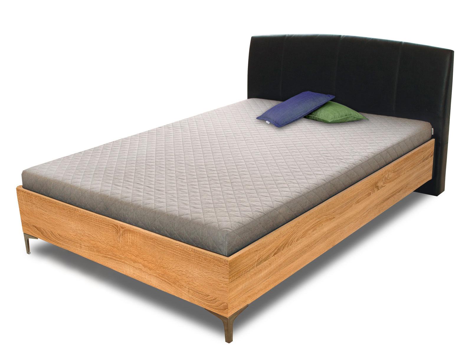 Manželská postel 140 cm - Benab - Elson wood (s rošty a matracemi)