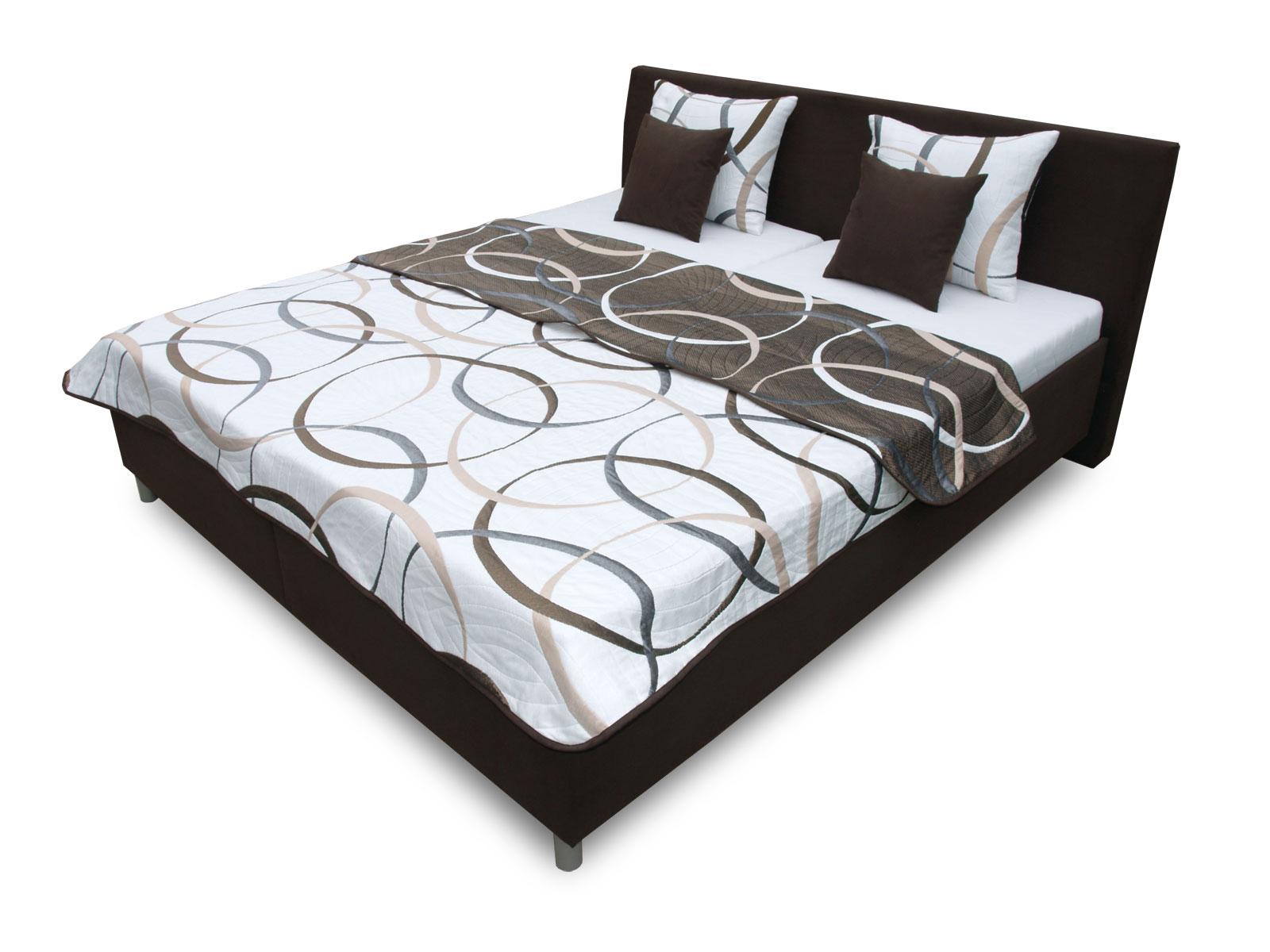 Manželská postel 180 cm - Benab - Montana (s rošty, přehozem a polštáři)