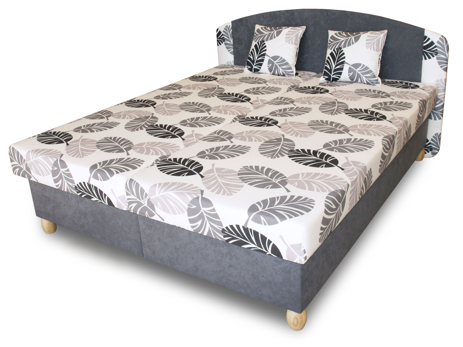 Manželská postel 160 cm - Benab - Paris (s rošty, matracemi a 2 ks polštářů)
