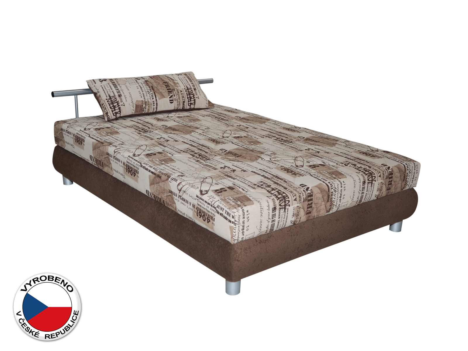 Manželská postel 140 cm - Blanár - Adriana (vzor Sevila 24-40 + hnědá) (s roštem a matrací)
