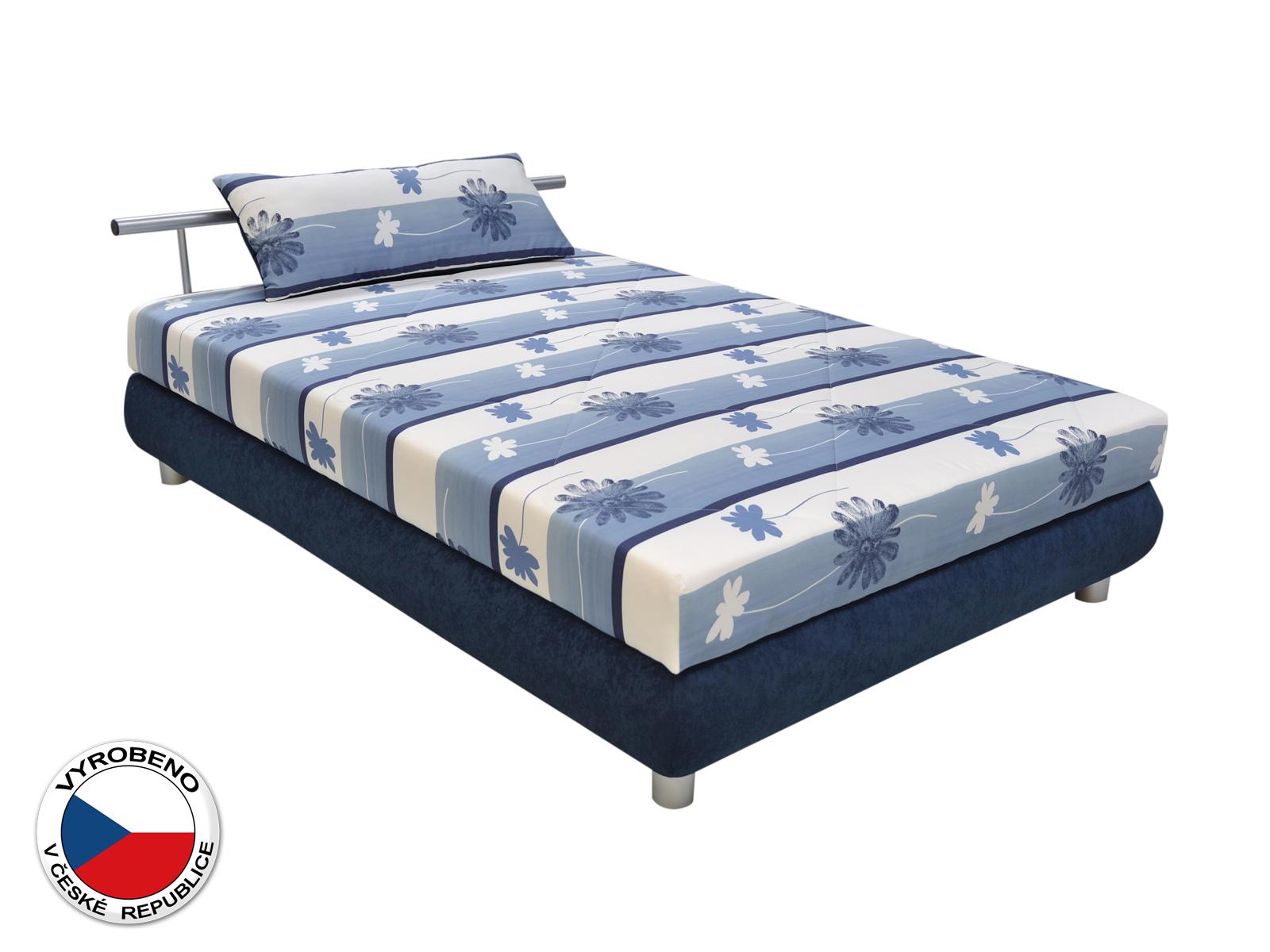Manželská postel 140 cm - Blanár - Adriana (vzor Taurus 468-90 + modrá) (s roštem a matrací)