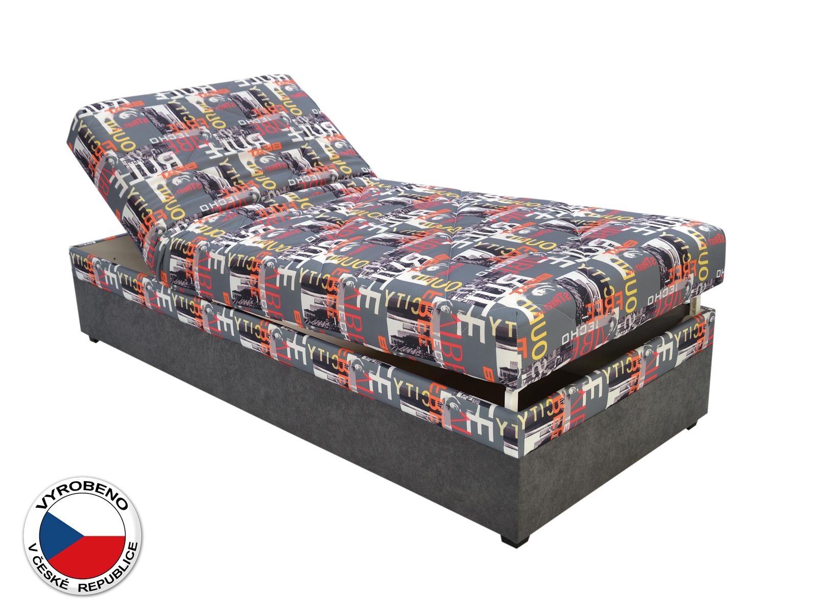 Jednolůžková postel (válenda) 90 cm - Blanár - Evelina (vzor City Beat 04) (s roštem a matrací)