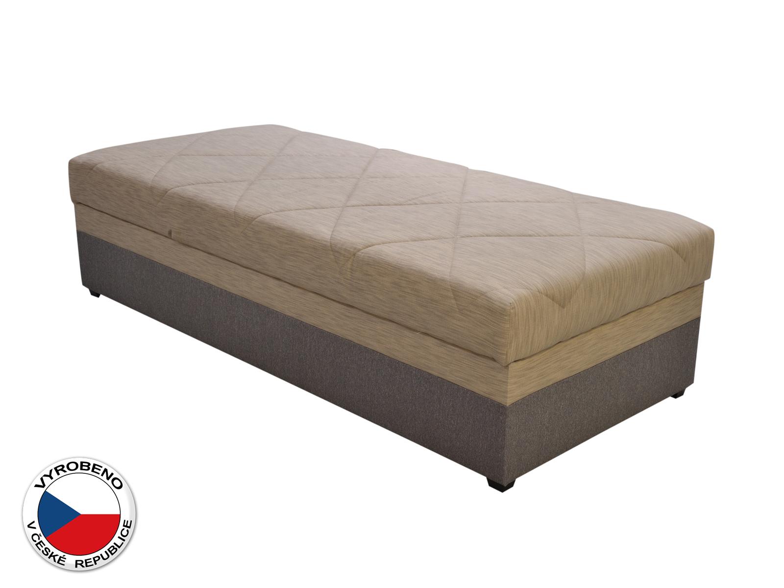 Jednolůžková postel (válenda) 90 cm - Blanár - Evelina (béžová + hnědá) (s roštem a matrací)