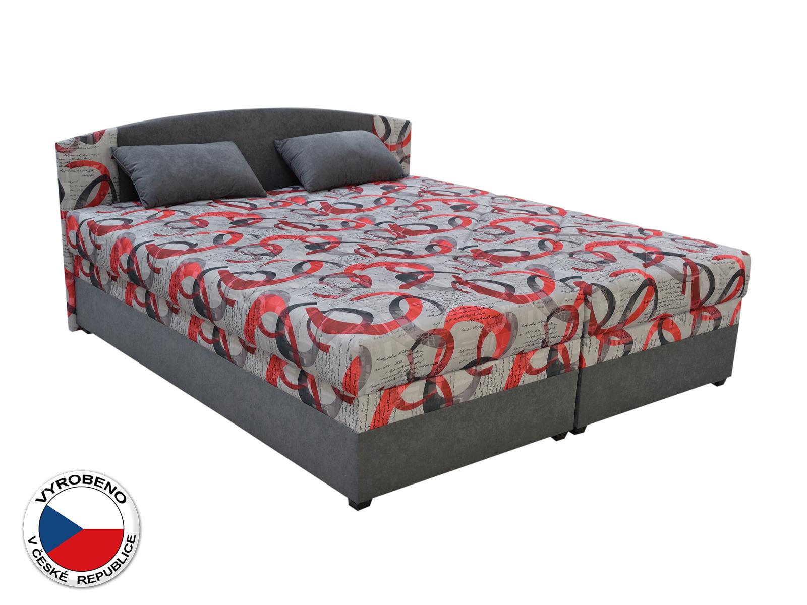 Manželská postel 160 cm - Blanár - Kappa (vzor Denis 1 + šedá) (s roštem a matrací)
