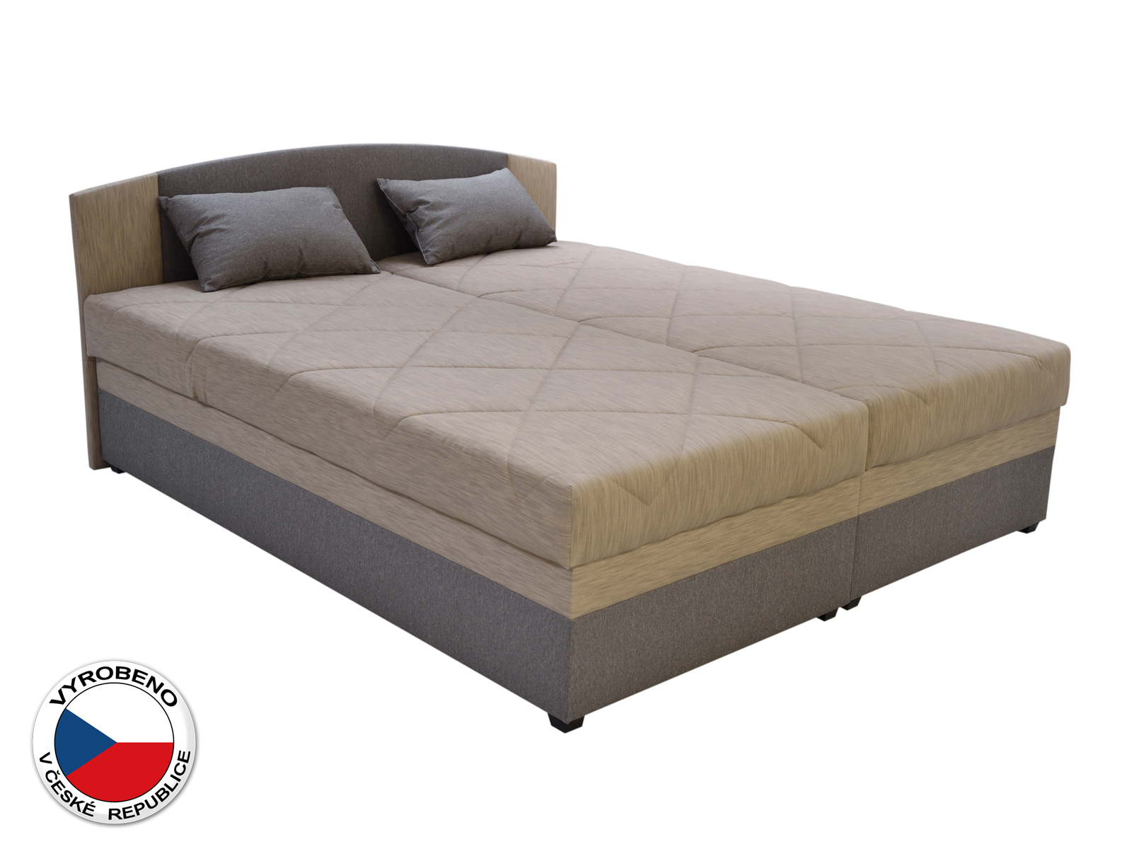 Manželská postel 160 cm - Blanár - Kappa (béžová + hnědá) (s roštem a matrací)