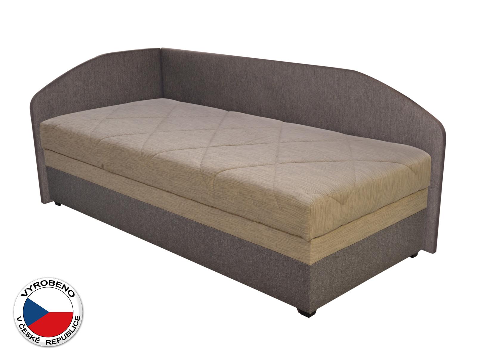 Jednolůžková postel (válenda) 90 cm - Blanár - Turi (béžová + hnědá) (s roštem a matrací) (L)