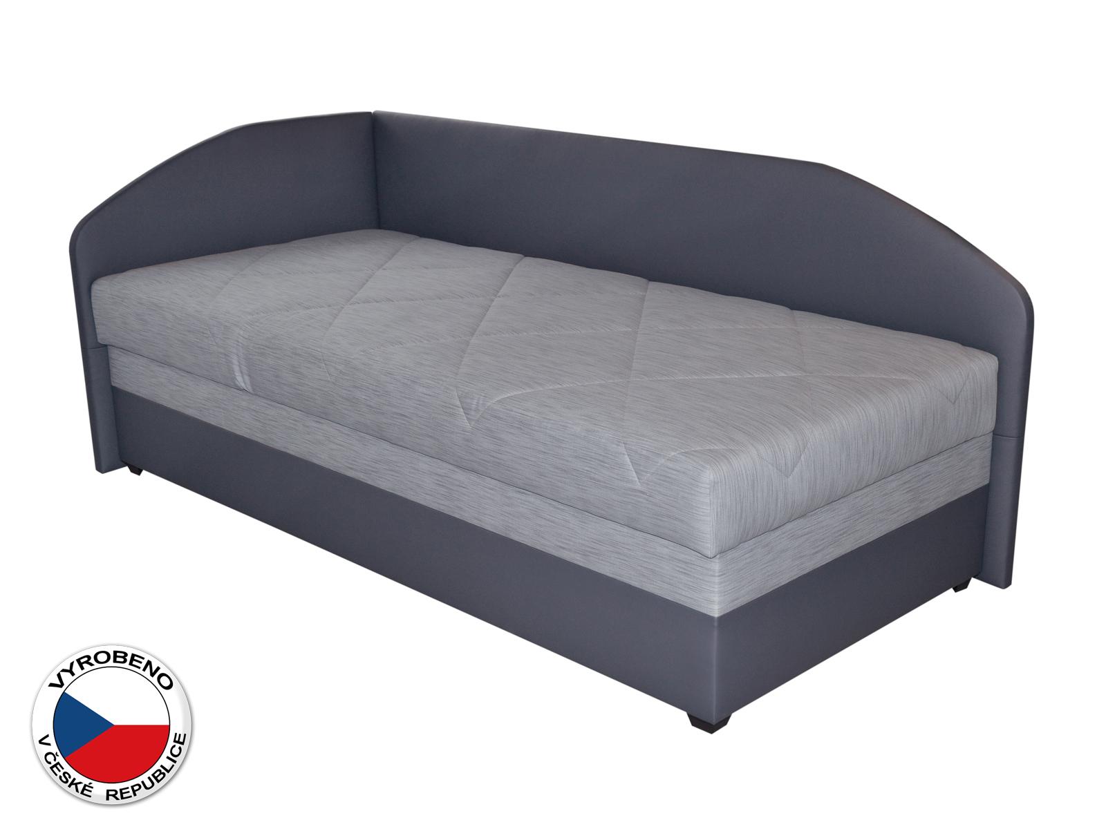 Jednolůžková postel (válenda) 90 cm - Blanár - Turi (světle šedá + tmavě šedá) (s roštem a matrací) (L)