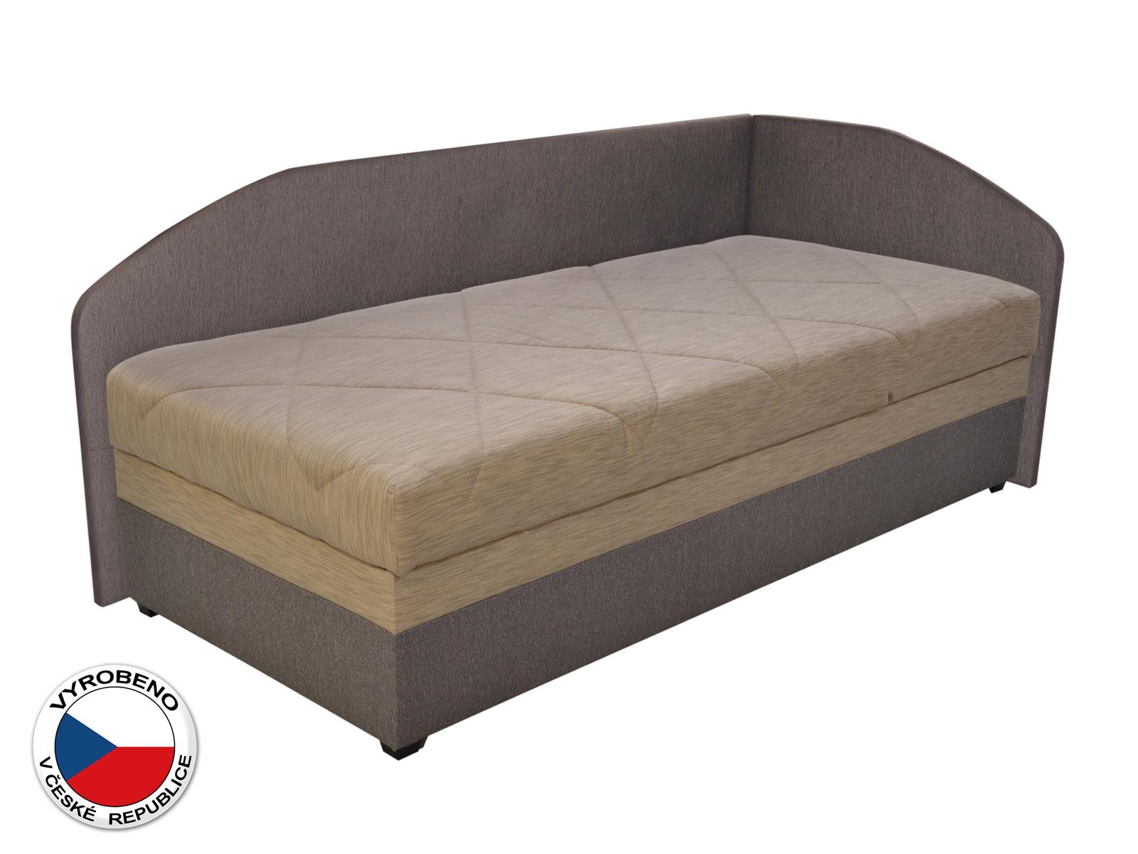 Jednolůžková postel (válenda) 90 cm - Blanár - Turi (béžová + hnědá) (s roštem a matrací) (P)