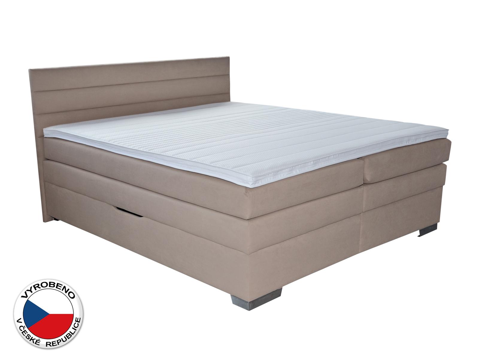Manželská postel Boxspring 180 cm - Blanár - Twister (béžová) (s roštem a matracemi)