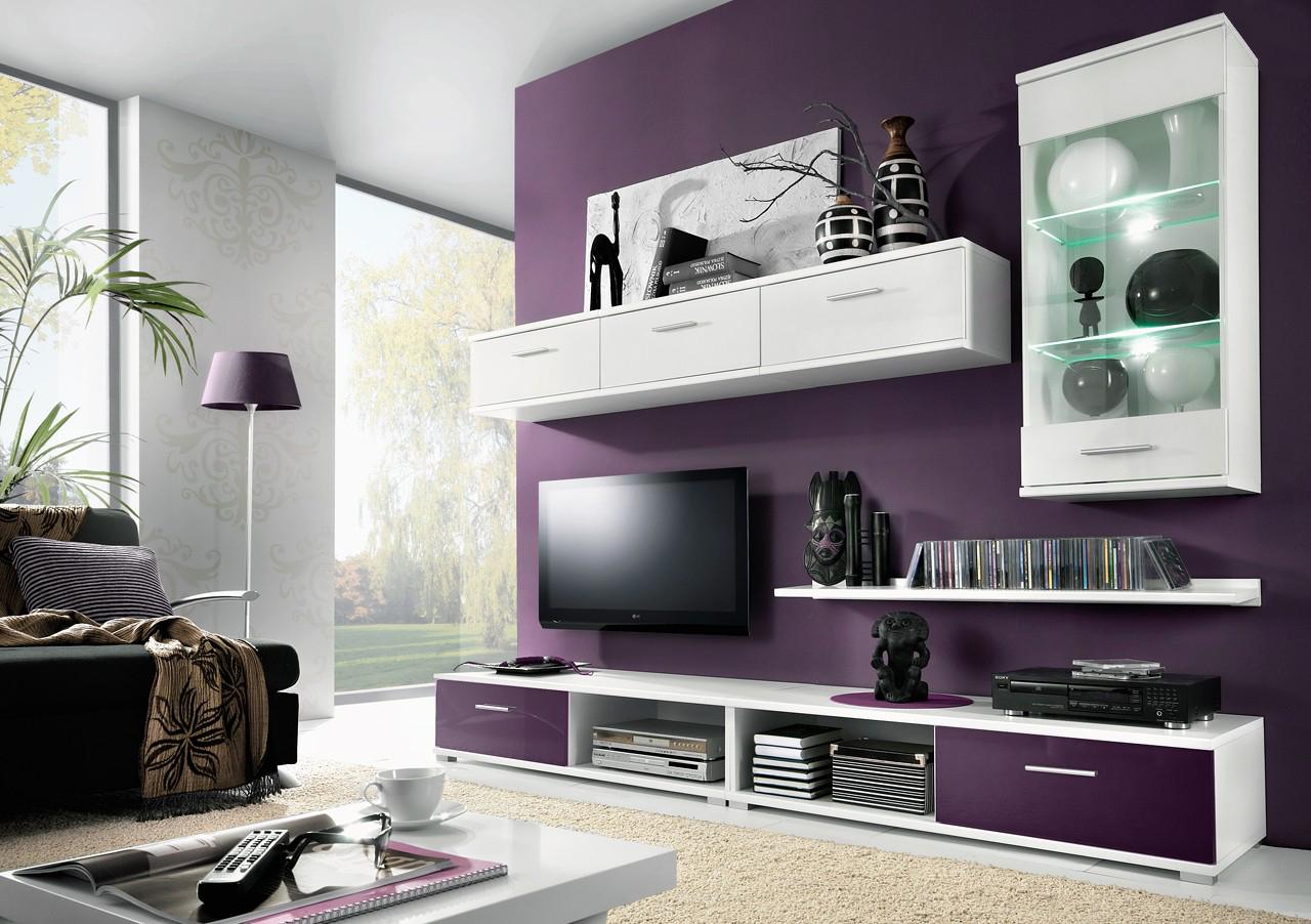 Obývací stěna - Casarredo - Tahiti (bílá + fialová)