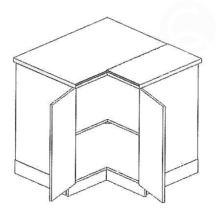 Spodní kuchyňská skříňka , rohová - Casarredo - Moreno - Vnitřní roh 90