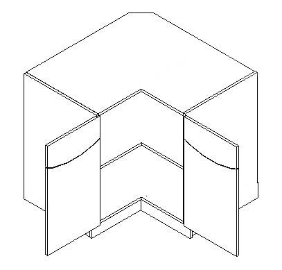 Spodní kuchyňská skříňka , rohová - Casarredo - Smile - Vnitřní roh 90