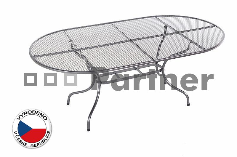 Zahradní stůl - Deokork - oválný 160 x 95 cm (kov)