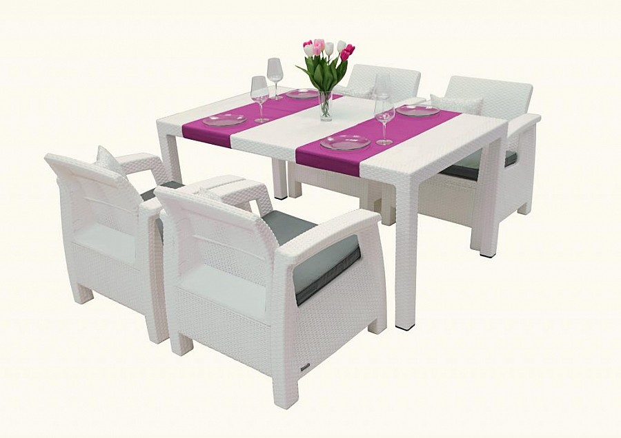 Zahradní nábytek - Deokork - Corfu Lounge set II. 1+4 (bílá) (um. Ratan) *polštáře ZDARMA