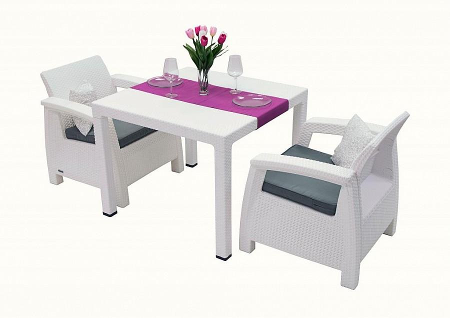Zahradní nábytek - Deokork - Corfu Mini 1+2 (bílá) (um. Ratan) *polštáře ZDARMA