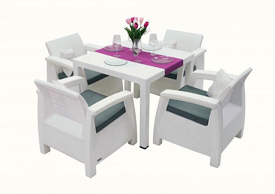 Zahradní nábytek - Deokork - Corfu Mini 1+4 (bílá) (um. Ratan) *polštáře ZDARMA