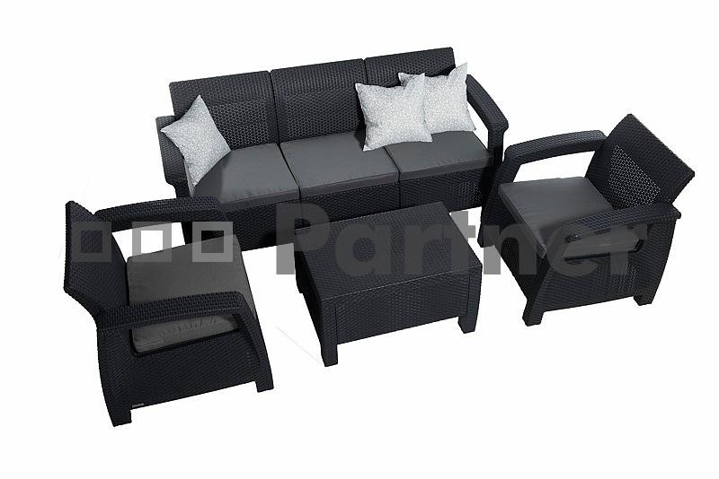 Zahradní nábytek - Deokork - Corfu Lounge Max antracit (um. ratan) *polštáře ZDARMA
