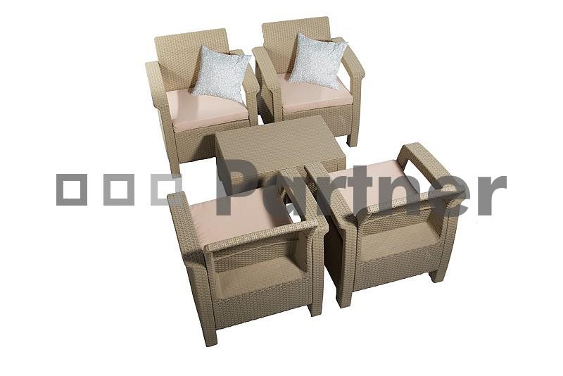 Zahradní nábytek - Deokork - Orion cappucino (um. ratan) *polštáře ZDARMA
