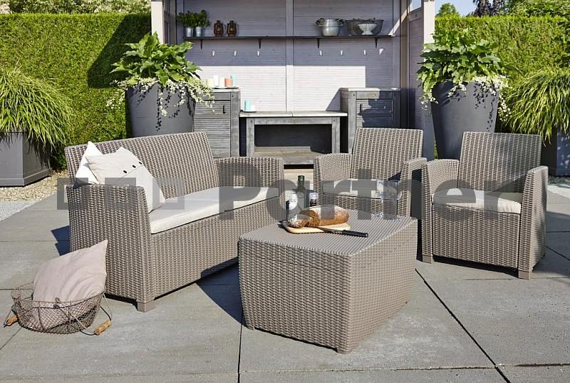 Zahradní nábytek - Deokork - Angela Box cappuccino (um. ratan) *polštářky zad ZDARMA