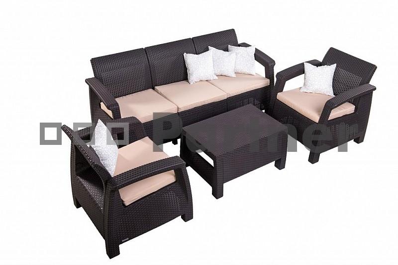 Zahradní nábytek - Deokork - Corfu Lounge Max hnědá (um. ratan) *polštářky zad ZDARMA