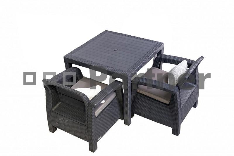 Zahradní nábytek - Deokork - Corfu Mini 1+2 antracit (um. ratan) *polštářky zad ZDARMA