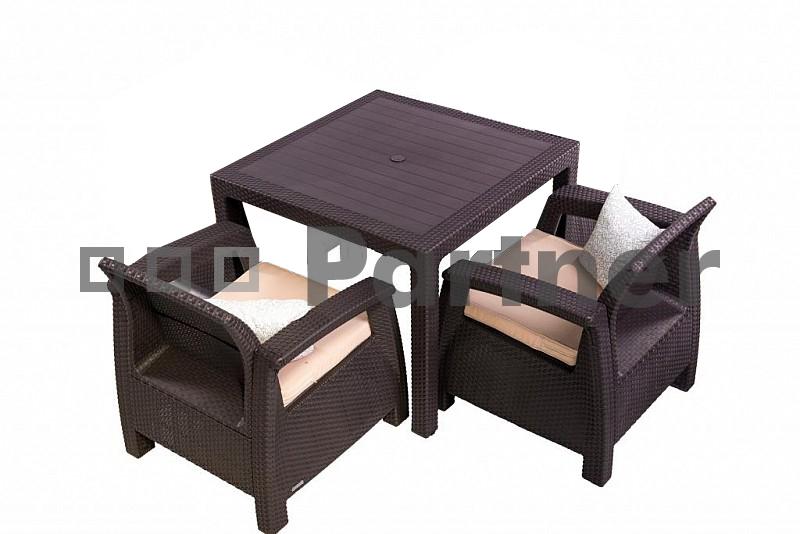 Zahradní nábytek - Deokork - Corfu Mini 1+2 hnědá (um. ratan) *polštářky zad ZDARMA