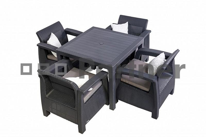 Zahradní nábytek - Deokork - Corfu Mini 1.4 antracit (um. ratan) *polštářky zad ZDARMA