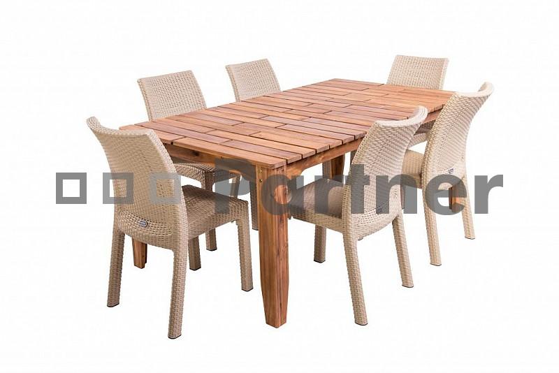 Zahradní nábytek - Deokork - Glasgow II. 1+6 písková (um. ratan)