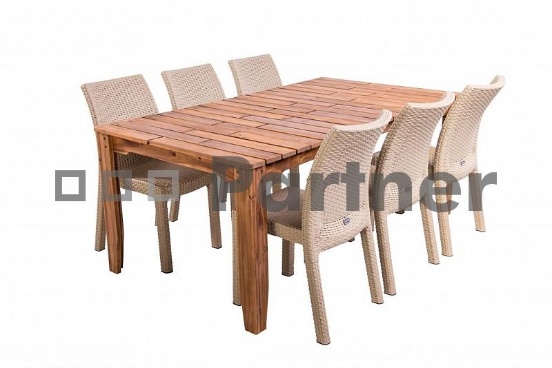 Zahradní nábytek - Deokork - Glasgow II. 1+8 písková (um. ratan)