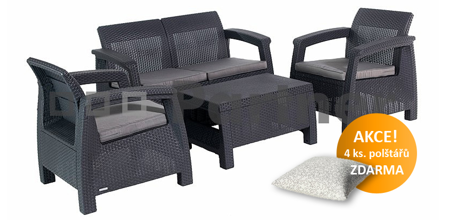 Záhradní nábytek - Deokork - Corfu antracit 1+2+1 (um. ratan) *polštáře ZDARMA