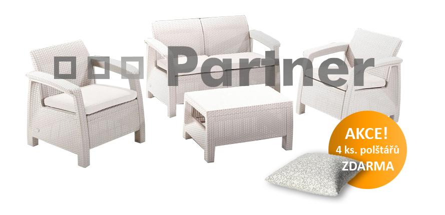 Záhradní nábytek - Deokork - Corfu bílá 1+2+1 (um. ratan) *polštáře ZDARMA