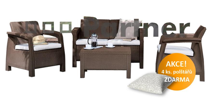 Záhradní nábytek - Deokork - Corfu hnědá 1+2+1 (um. ratan) *polštáře ZDARMA