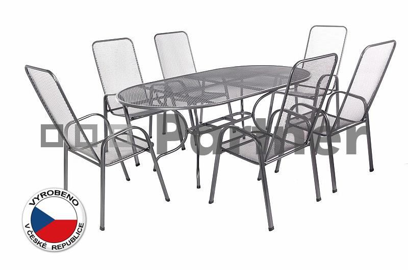 Záhradní nábytek - Deokork - Olivie 1+6 (stůl 190 cm) (kov)