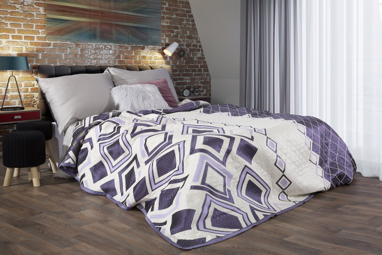Přehoz na postel 240x220cm - Eurofirany - Elle (fialová)
