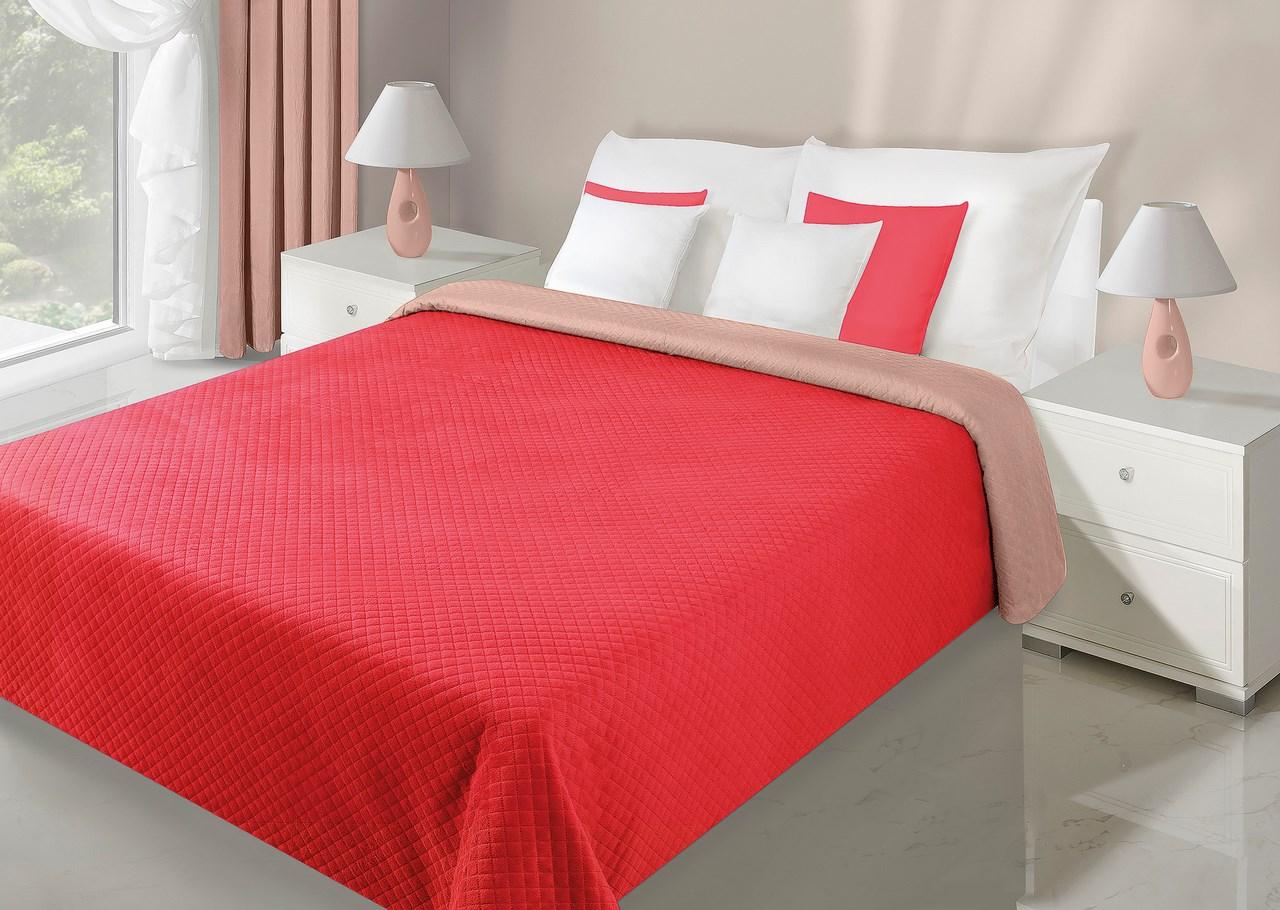 Přehoz na postel 260x230cm - Eurofirany - Filip (červená + kakaová)